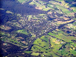 Belgrave South, Victoria - Wellington Road forms the southern boundary of Belgrave South. The forested area shown in the top left includes the Baluk-Willam Nature Conservation Reserve.