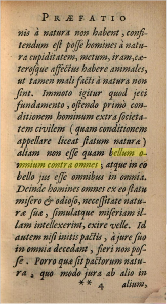 Bellum omnium contra omnes - The Præfatio (Preface) of De Cive where the phrase bellum omnium contra omnes appears for the first time. Taken from the revised edition printed in 1647 at Amsterdam (apud L. Elzevirium).