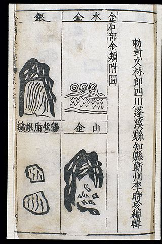 types of gold and silver from a 1st edition of Bencao Gangmu, illustrated by Li Shizhen's son (c. mid-16th century AD) - Compendium of Materia Medica