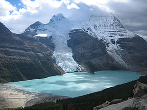 Mount Robson Provincial Park - Mt. Robson's north face, Berg and Mist glaciers calving into Berg Lake