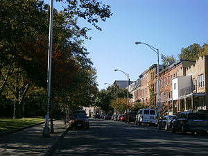 Bergen-Lafayette, Jersey City - Grand street ascending hill at Arlington Park