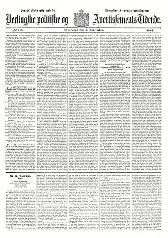 Berlingske - The cover page of Berlingske September 4, 1865 (Royal Danish Library)