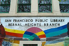 A colorful mural painted on the sign of the Bernal Heights Branch Library