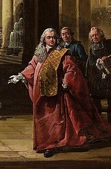 Autoritratto in costume da procuratore veneziano, particolare da Capriccio architettonico, 1765-1766, Varsavia, Museo Nazionale