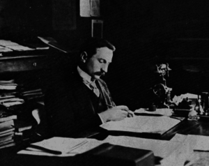 Ioan Bianu - Bianu at his Romanian Academy Library desk, ca. 1900