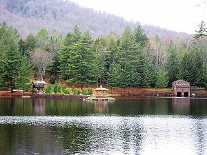 Tupper Lake (New York) - Boathouses on the lake