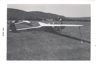 Sisu 1A - Bill Ivan prepares his Sisu 1A for competition at the 30th National Soaring Championships at Harris Hill, NY in July, 1963.