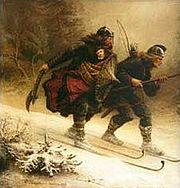 19th century artist's impression of the birkebeiner bringing the infant Håkon to safety.