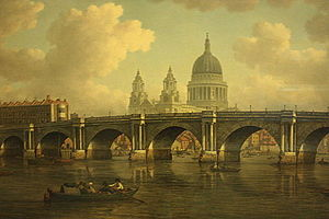 William Marlow - Blackfriars Bridge and St Pauls Cathedral, by William Marlow, 1788, Guildhall Gallery, London