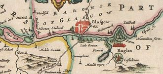 "Govan - A part of Blaeu's 1654 map of Scotland. Modern Govan is at the site labeled Mekle Gouan (""Big Govan""). The small town of Glasgow is on the north bank of the Clyde, across from Litle Gouan (""Little Govan"")."
