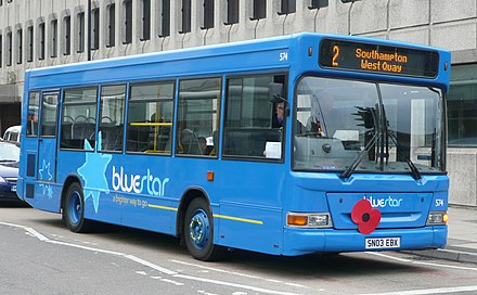 A poppy on a bus in Southampton, England (November 2008) Bluestar 574.JPG
