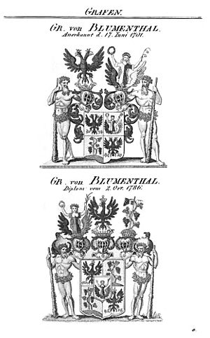 Blumenthal family - Arms granted to Ludwig I von Blumenthal in 1701 and (below) to Hans and Joachim von Blumenthal in 1786, upon Hans being elevated to a Count (Graf). Note that here the vine is planted, not couped.