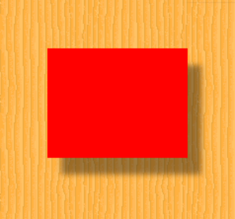 Drop shadow - A red rectangle casting a drop shadow over a wood-like background.
