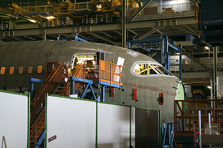 Assembly of Section 41 of a Boeing 787 Dreamliner Boeing 787 Section 41 final assembly.jpg
