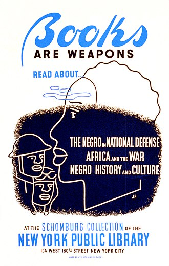Schomburg Center for Research in Black Culture - World War II-era WPA poster promoting use of the Schomburg Collection of the New York Public Library (Federal Art Project 1941–43)
