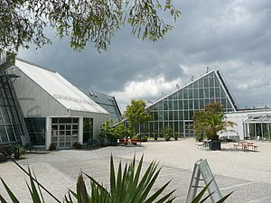 Ecological-Botanical Garden of the University of Bayreuth - Main entrance and greenhouses of the ÖBG Bayreuth