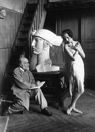 Antoine Bourdelle - Bourdelle in his studio sketching Grace Christie