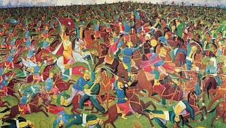Naïve art - An example of Janko Brašić's work. Kosovski Boj (the Battle of Kosovo)