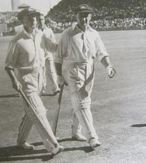 Sid Barnes - Bradman and Barnes leave the field for an adjournment as both head towards 234.