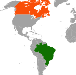 Map indicating locations of Brazil and Canada