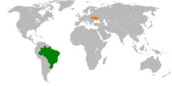 Map indicating locations of Brazil and Ukraine