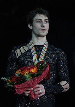 Brian Joubert Podium 2009 Europeans.jpg