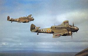 Channel Dash - Image: Bristol Beauforts 217 Squadron in flight