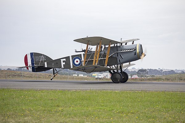 Bristol F.2 Fighter replica (B1112) taking off for a dog fight display at the 2015 Australian International Airshow.jpg