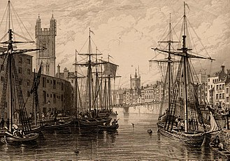 Bristol Harbour - Black and white etching showing the towers of St Stephen's Church, St Augustine the Less Church and Bristol Cathedral, published c. 1850. The view shows the historic Harbour with 10 sailing ships and rowing boats before the channel was filled in 1892–1938.