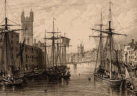 Black and white etching showing the towers of St Stephen's Church, St Augustine the Less Church and Bristol Cathedral, published c.1850 Bristol Harbour (St Stephen's Church, St Augustine the Less Church, Bristol Cathedral), BRO Picbox-7-PBA-22, 1250x1250.jpg