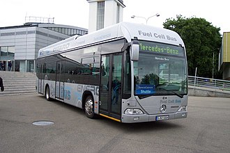 Hydrogen economy - A Mercedes-Benz O530 Citaro powered by hydrogen fuel cells, in Brno, Czech Republic.