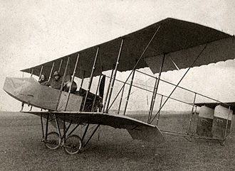 Aileron - A 1912 Farman HF.20 biplane with single acting ailerons hinged from the rear spar. The ailerons hang down when at rest and are pushed up into position when flying by the force of the air, being pulled down by cable to provide control.