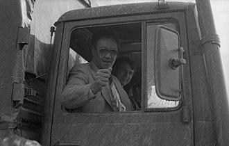 Gaafar Nimeiry - Nimeiry during a 1978 state visit to Western Germany, testing army trucks