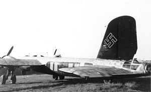 Organization of the Luftwaffe (1933–45) - A Heinkel He 177 bomber with the upper-wing style standardized Balkenkreuz on the fuselage, and with flat black undersurfaces and fuselage sides.
