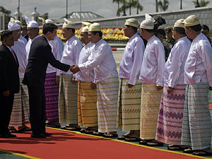 State Peace and Development Council - SPDC members greet Thai PM Abhisit Vejjajiva in an October 2010 visit to Naypyidaw.