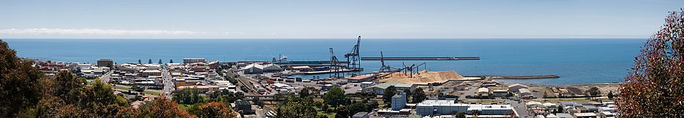 Burnie CBD and Port from Wilfred Campbell Memorial Reserve with Bass Strait behind