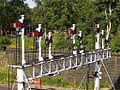 Bury South signal boxs up platform signals at Bury Bolton Street station East Lancashire Railway.jpg