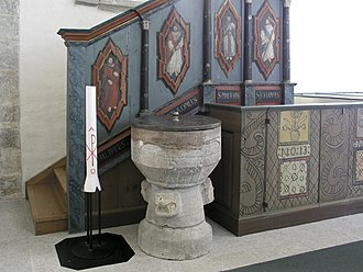 Buttle Church - Image: Buttle kyrka Baptismal font