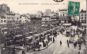 Place du Peuple with tram, which began operating in 1881 (photo circa 1912)