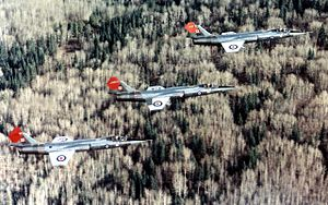 CF-104 Starfighters of 417 Sqn in flight near Cold Lake 1976.jpg