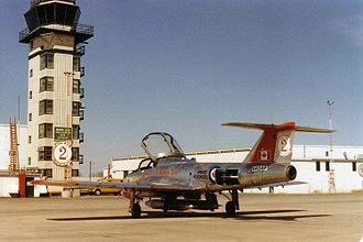 CFB Moose Jaw - CT-114 Tutor jet trainer and the old Moose Jaw control tower in the spring of 1982
