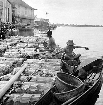 Pontianak, Indonesia - Capped sago trunks are plumbed downstream on the river at Pontianak, circa 1948