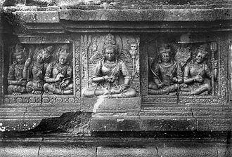 Deva (Hinduism) - The male Lokapala devas, the guardians of the directions, on the wall of Shiva temple, Prambanan (Java, Indonesia).