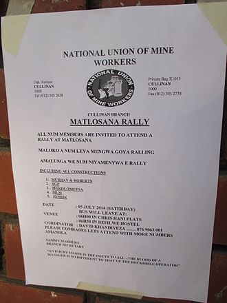 National Union of Mineworkers (South Africa) - NUM leaflet calling for a general rally near Matlosana.