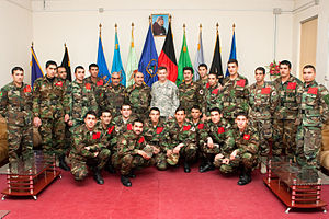Caldwell with cadets of class 1388 at the National Military Academy of Afghanistan