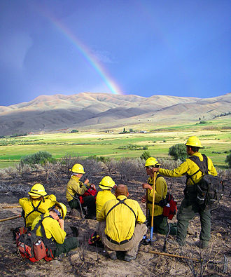 Bureau of Land Management - Calm Before the Storm: Fatigued BLM Firefighters taking a break after a fire in Oregon in 2008