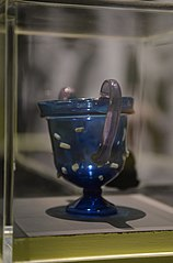 Canthare en verre bleu de Cologne