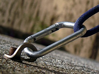 Bolt (climbing) - A bolt, bolt hanger, carabiner, and rope employed as a climbing protection system