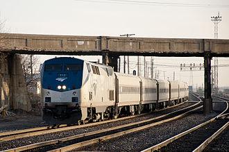 Chicago Subdivision - Amtrak's Carl Sandburg on the Chicago Subdivision in Berwyn, Illinois.