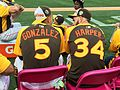 Carlos Gonzalez and Bryce Harper chat during the T-Mobile -HRDerby. (28554228985).jpg